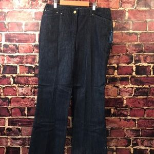 New Jones New York jean petite 10P leather piping